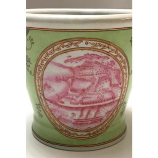 Vintage Pink and Green Chinoiserie Cachepot Preview