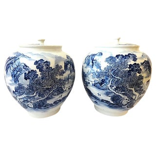 "Big Chinoiserie B & W Ginger Jars, Pair 16.75"" H by 15.25"" D For Sale"