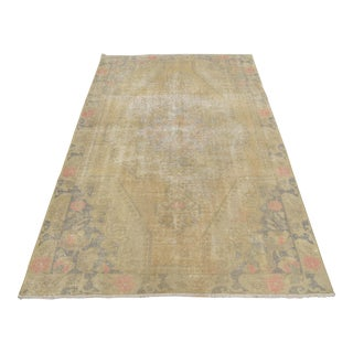 Distressed Area Rug Hand Knotted Colorful Oushak Medallion Rug - 4'2'' X 7'1'' For Sale