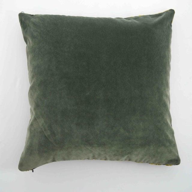 FirmaMenta Italian Damask Green & Yellow Velvet Pillow - Image 4 of 6