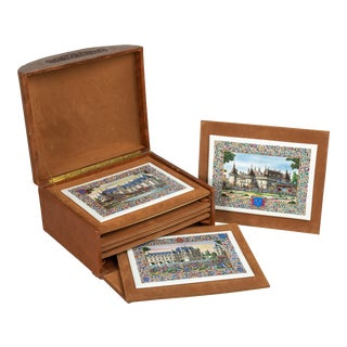 French Chateaux Porcelain Plaques - Boxed - Set of 7 For Sale