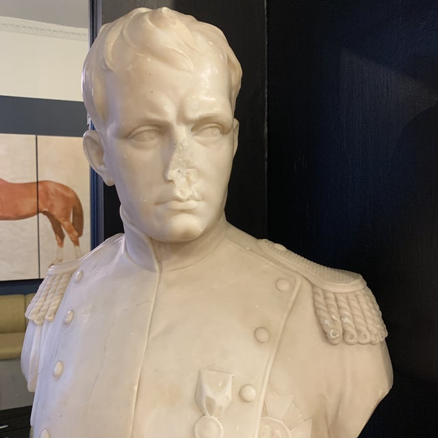 Neoclassical Revival Napoleon Marble Bust W/ Granite Base For Sale - Image 3 of 10