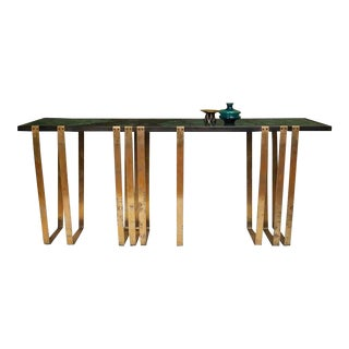 Handcrafted Console with Marble Top and Solid Brass Legs designed by Harry Clark