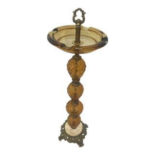 1930s Amber Glass Marble and Metal Stand Ashtray For Sale