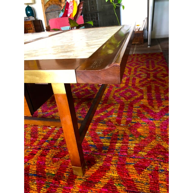 Mother-of-Pearl Mid-Century Hollywood Regency Teak and Mother of Pearl Square Coffee Table For Sale - Image 7 of 11