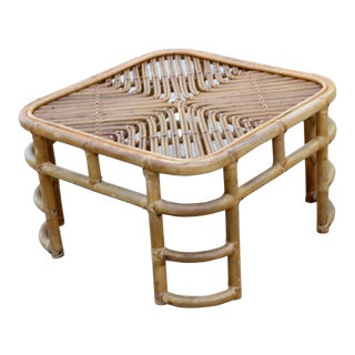 Vintage Boho Chic McGuire Rattan Reed Coffee Table For Sale