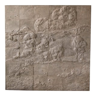 Massive Vintage Italian Landscape Relief Art Tile Wall Hanging For Sale