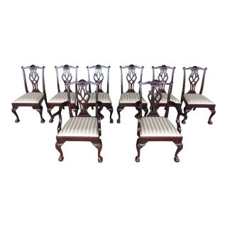 Stickley Chippendale Style Mahogany Ball & Claw Foot Set of 8 Dining Chairs