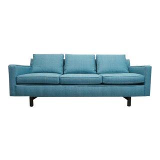 Mid Century Modern Edward Wormley for Dunbar Aqua Tweed Sofa For Sale