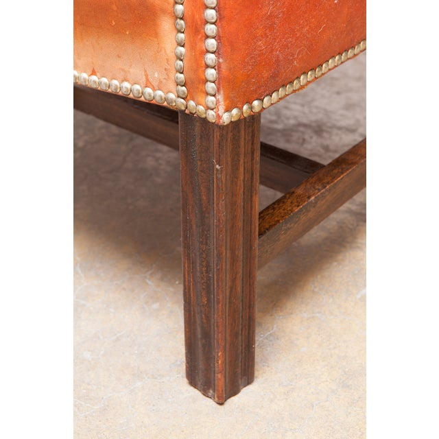 English Cigar Leather Tufted Wing Chairs - Pair - Image 9 of 10