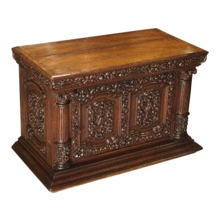Late 19th Century Vintage Oak Carved Storage Cabinet For Sale
