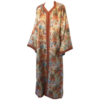 Moroccan Floral Brocade Multicolored Embroidered Kaftan, 1970s, Caftan For Sale