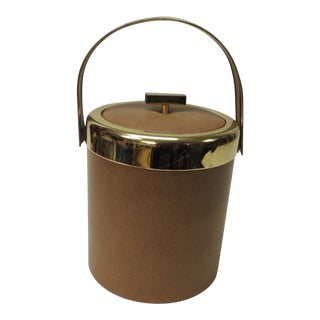 Mid-Century Modern Ice Bucket With Gold Handle For Sale