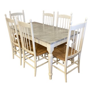 Summer House Italian Marble Dining Table + Set of Six Rush Seat Chairs Dining Set For Sale