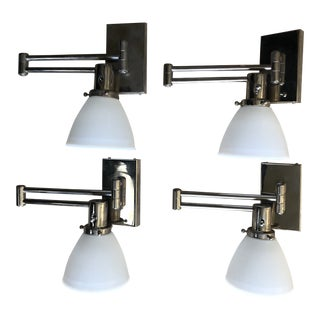 Polished Nickel Swing-Arm Sconces With Milk Glass Shades - Set of 4 For Sale