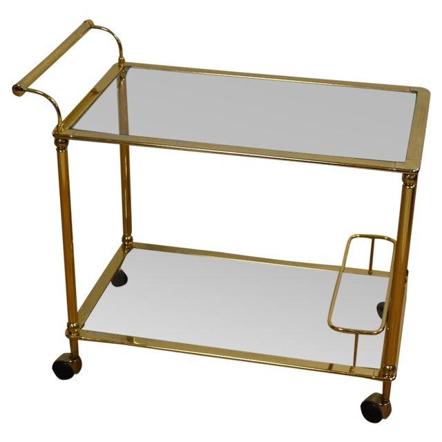 Hollywood Regency Brass Bar Cart - Image 1 of 11