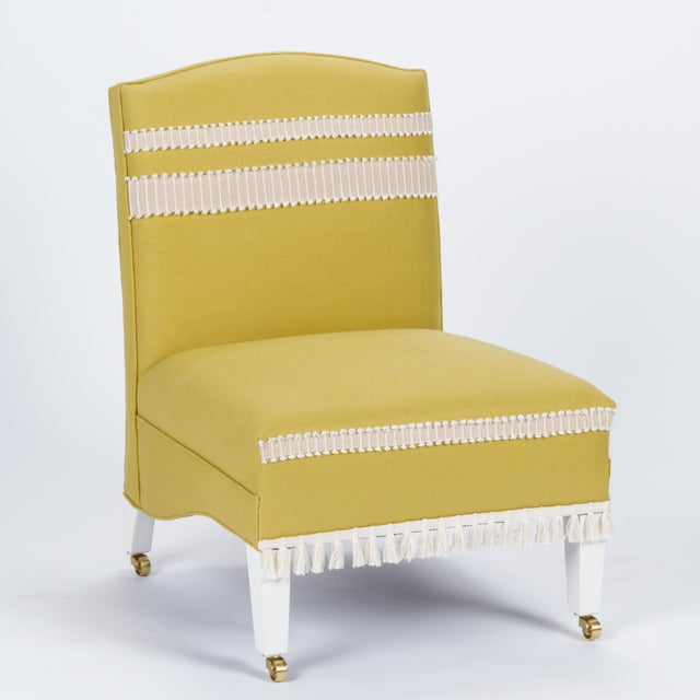 Casa Cosima Sintra Chair in Citron Linen For Sale - Image 9 of 9