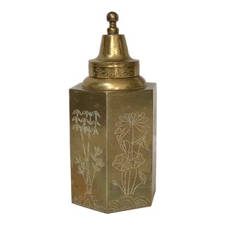 Vintage Chinese Brass Chinoiserie Engraved Tea Caddy For Sale