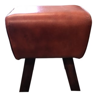Red Leather Low Stool