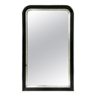 Napoleon III Period Black and Silver Mirror from France (H 53 1/2 x W 32 1/4) For Sale