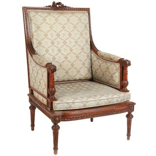 1860 French Carved Walnut Armchair For Sale