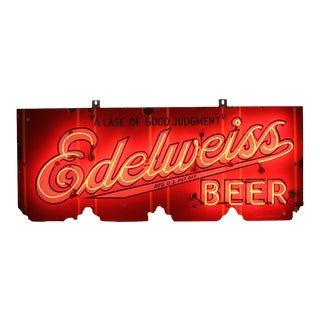 1930s Porcelain Edelweiss Beer Sign