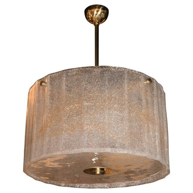 Gold Midcentury Gold Flecked Murano Glass Drum Shade Chandelier with Brass Fittings For Sale - Image 8 of 8
