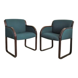 1980s Vintage Warren Snodgrass for Steelcase Bentwood Arm Chairs- a Pair For Sale