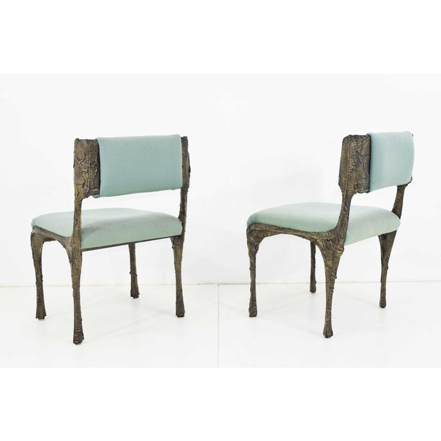 Set of Six Paul Evans Brutalist Sculpted Bronze and Resin Dining Chairs, 1972 - See Updated Listing W. New Upholstery For Sale - Image 10 of 11