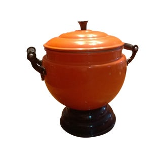 Vintage Bright Orange Soup Tureen & Ladle For Sale