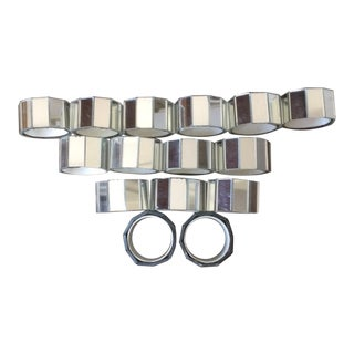 Vintage Faceted Mirror Napkin Rings - Set of 15