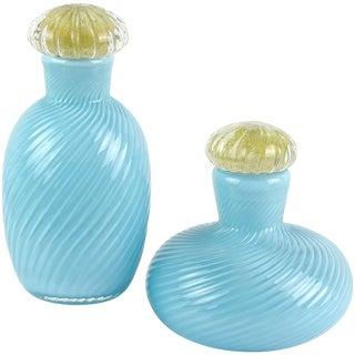 Vintage Murano Signed 1985 Light Blue Gold Flecks Italian Art Glass Vanity Bottles - a Set For Sale
