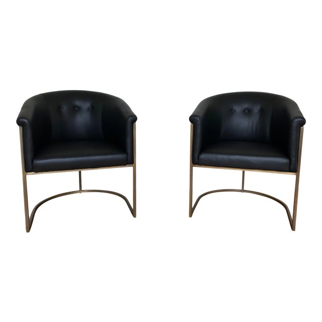 J L F Collections Black Leather Barrel Chairs - a Pair For Sale