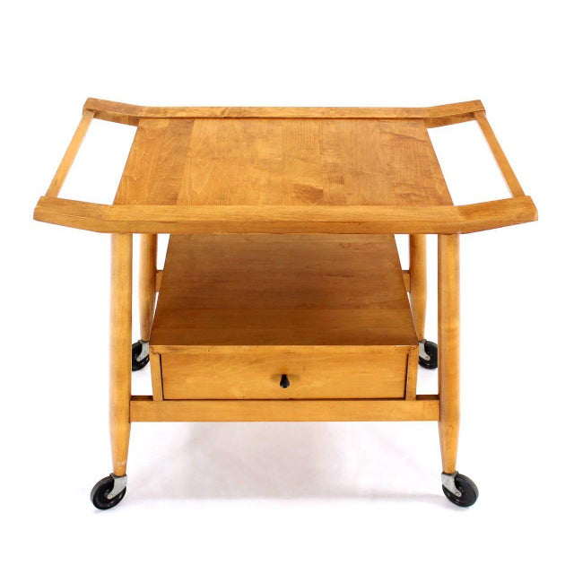 Very nice blond solid birch mid century cart in style of Paul McCobb.