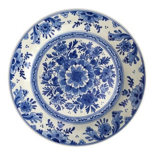 Antique Delft Hand-Painted Wall Plate, Signed For Sale