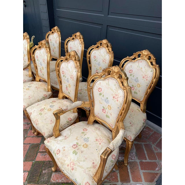 Antique Gold Leaf Louis XIV Style Chairs - Set of 8 For Sale - Image 4 of 12