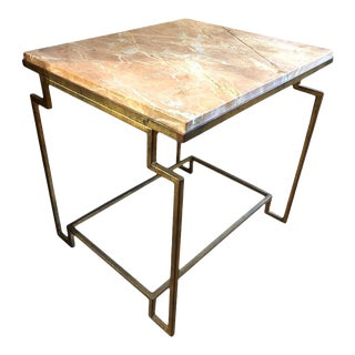Art Deco Style Gilt Metal and Fossilized Limestone Side Table For Sale