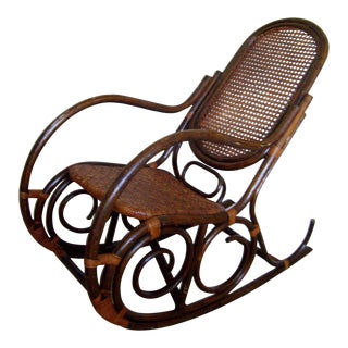 Vintage Bentwood Bohemian Highly Textured Handmade and Hand Woven Rocking Chair