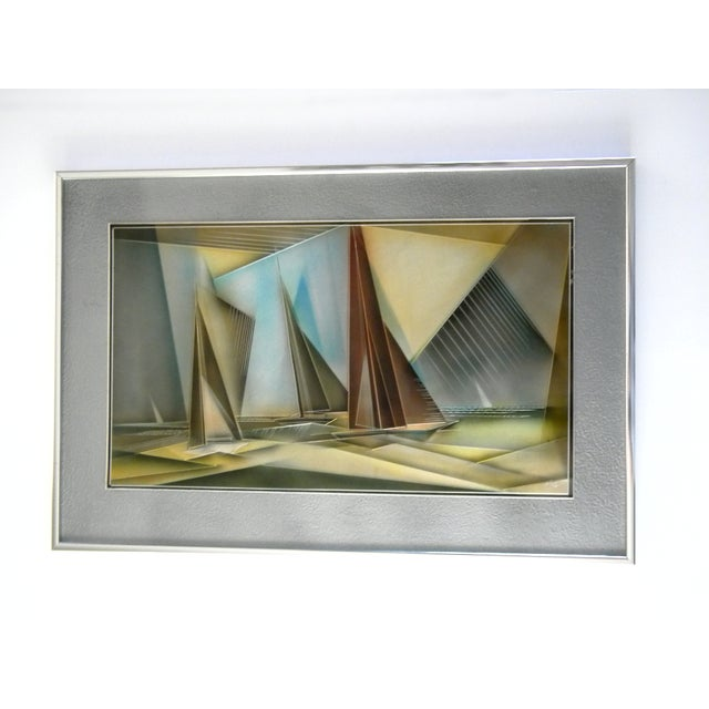 1976 Tom Gall San Francisco Bay Aluminum Etched and Airbrushed Painting For Sale - Image 10 of 10