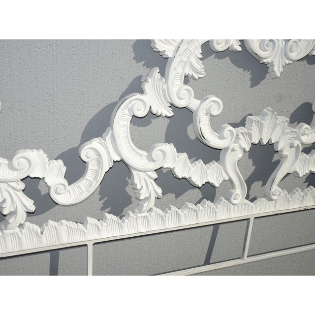 Vintage French Provincial Louis XVI Rococo White Metal King Headboard For Sale In Los Angeles - Image 6 of 12