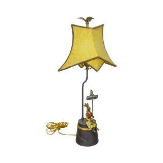 Bronze Gold Painted Lamp W/ Seated Persian Woman & Parasol