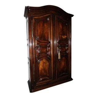 18th Century Louis XV Walnut Carved Armoire For Sale