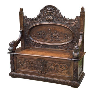 Antique French Bench Settee Renaissance Entry Hall Chariot Carved Oak 19th C For Sale