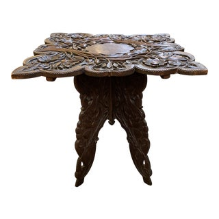 Early 20th Century Carved Botanical Side Table For Sale