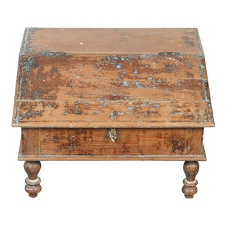 19th Century Anglo-Indian Low Writing Desk Storage Trunk For Sale