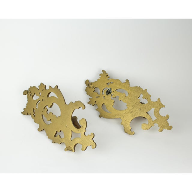 Paint Hollywood Regency Syroco Wood Candle Sconces - a Pair For Sale - Image 7 of 10