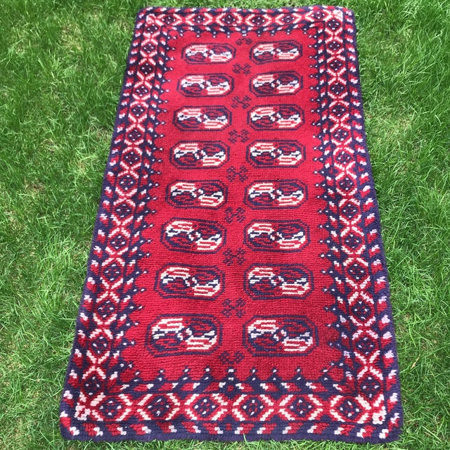 Vintage runner rug- Good vintage Condition. One small hole, see photos. Unknown Origin