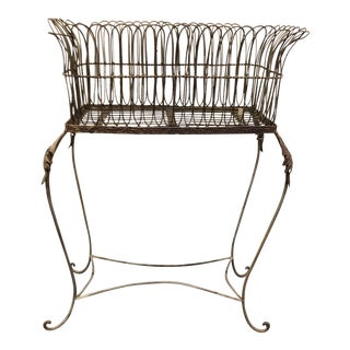 19th Century French Footed Metal Planter Basket For Sale