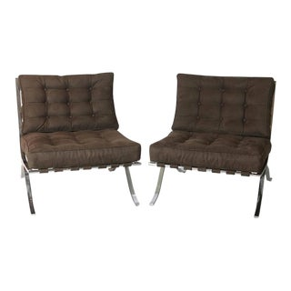 20th Century Brown Barcelona Chairs - A Pair For Sale