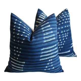 "Custom Malian Blue & White Feather/Down Pillows 22"" Square Pillows - Pair For Sale"